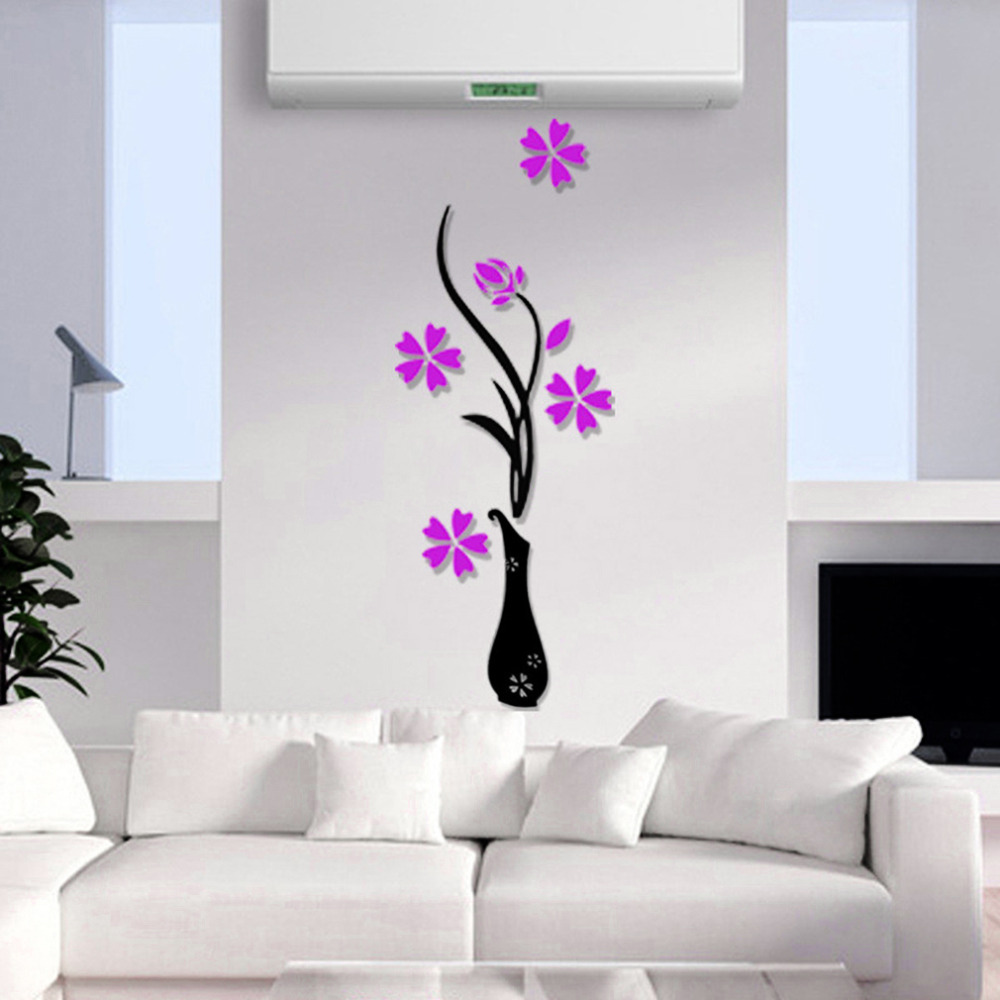 3 Different Colors Beautiful 3D Three Dimensional Vase Background Flower Tree Acrylic Wall Sticker DIY Poster Home Decoration