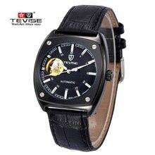 Moda Hombres Huecos Reloj TEVISE Marca Mecánico Automático de Los Hombres Reloj de Cuero de Lujo Relojes A Prueba de agua Reloj Relogio masculino