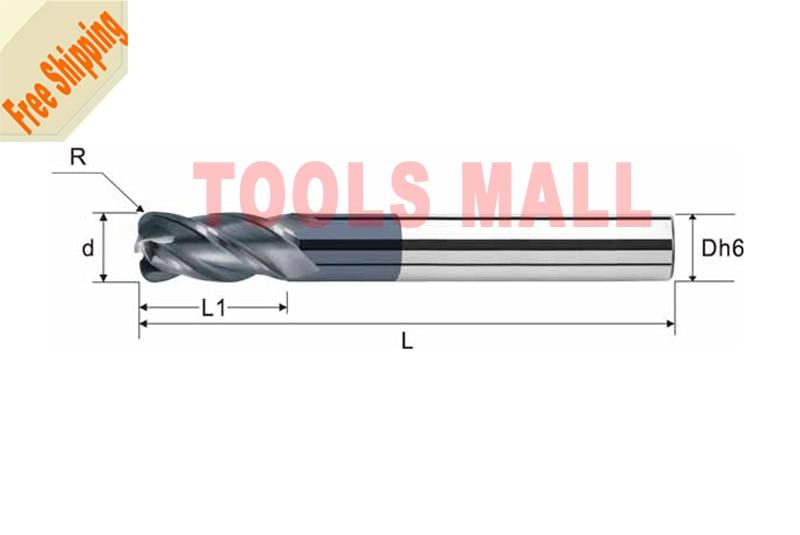 Free shipping-5pcs 5mm hrc55 R0.5*D5*13*D5*50 4 Flutes Milling tools Mill cutter Corner Radius End Mill CNC router bits  цены