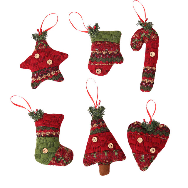1pc Lovely Red Handmade Christmas Ornament Crutch Glove Heart ...