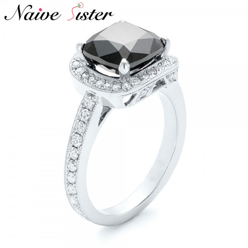 Ladies Black Cubic Zirconia Halo Engagement Ring Classic Wedding Band For Women Copper Jewelry Fashion Lover Gift Romantic