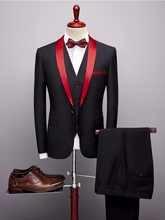 Designers 2019 Black Red Tuxedo Men's Suits Formal Grooms Wedding Prom Blazer Mens 3 Piece Korean Business Suit Slim Fit - DISCOUNT ITEM  49% OFF All Category