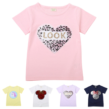 Sequins T-Shirt for Girls Kids Magic Sequin Reversible Clothes Cotton Casual Wear Summer Cute Tops Tee Enfant Baby Girl T Shirt