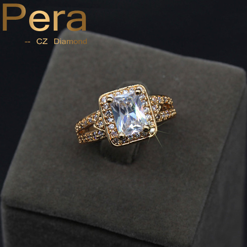 Exquisite 4 Prongs Square CZ Stone 1.25 Carat Single Cubic Zirconia Crystal Bridal Wedding Simple Married Rings Jewelry R018