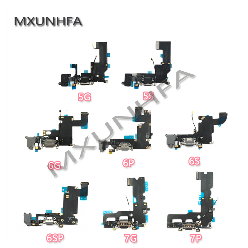 New <font><b>USB</b></font> Charger Charging Port For iPhone <font><b>5</b></font> 5S <font><b>6</b></font> 6S 7 Plus 6plus Dock Connector flex cable Headphone Jack Ribbon Replacement image