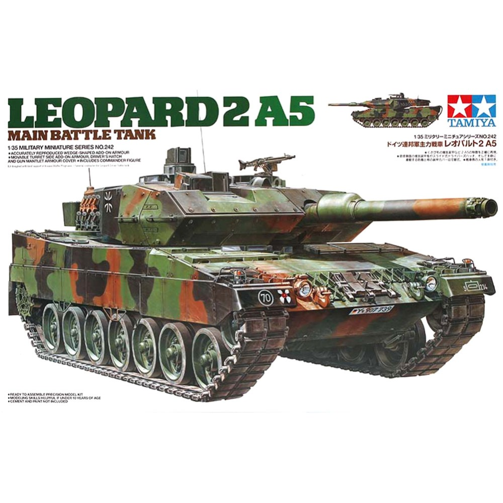 OHS Tamiya 35242 1/35 Leopard 2 A5 Main Battle Tank Military Assembly AFV Model Building Kits oh tobyfancy tamiya 1 35 ww2 german steyr type 1500a 01 military miniature ready to assembly model kit