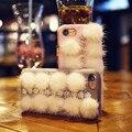 Роскошный Зимний Пушистый Волосатый Трудно Аргументы За ПК iPhone 7 7 Plus плюшевые Bling Rhinestone Задняя Крышка Для Apple iPhone 6 6 S Plus Coque