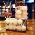 Luxury Winter Furry Hairy Hard PC Case For iPhone 7 7 Plus  Plush Bling Rhinestone Back Cover For Apple iPhone 6 6S Plus Coque