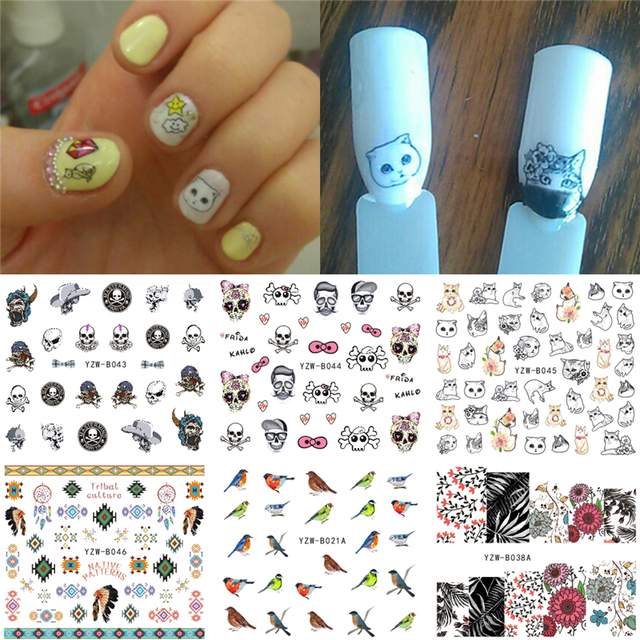 6 Sheets/Lot Water Transfer Nails Art Sticker Harajuku Element Cats  Halloween Skull Bird Flower