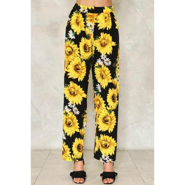 Customized Autumn 2017 New Casual Sunflower Floral Printed Pajama Pants  Women s Elegant Elastic Waist Wide Leg Pants Plus Size 46762185a