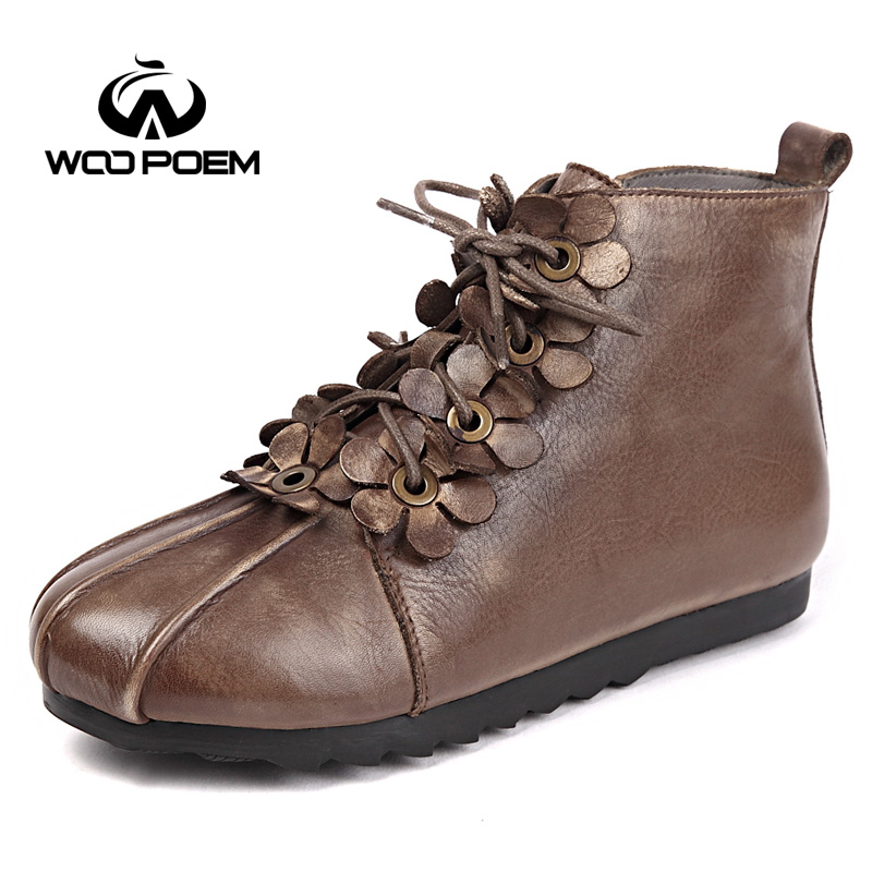 WooPoem Brand Winter Shoes Woman Genuine Leather Boots Comfort Low Flat Heel Ankle Boots Retro Flower Soft  Women Boots X0990-T3 woopoem brand winter shoes woman genuine leather boots low flat heel ankle boots rivet motorcycle boots retro women boots 510 l1