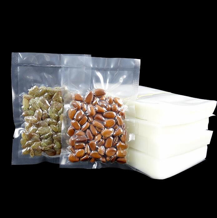 500pcs Transparent food vacuum bags and package plastic shopping bags for food Clear Heat sealing bag