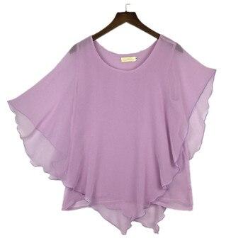plus size S-4XL 5XL 6XL Summer Women Chiffon Blouses Bating Sleeve chiffon shirts blousas shirts,18 color vestidos casual shirts 2