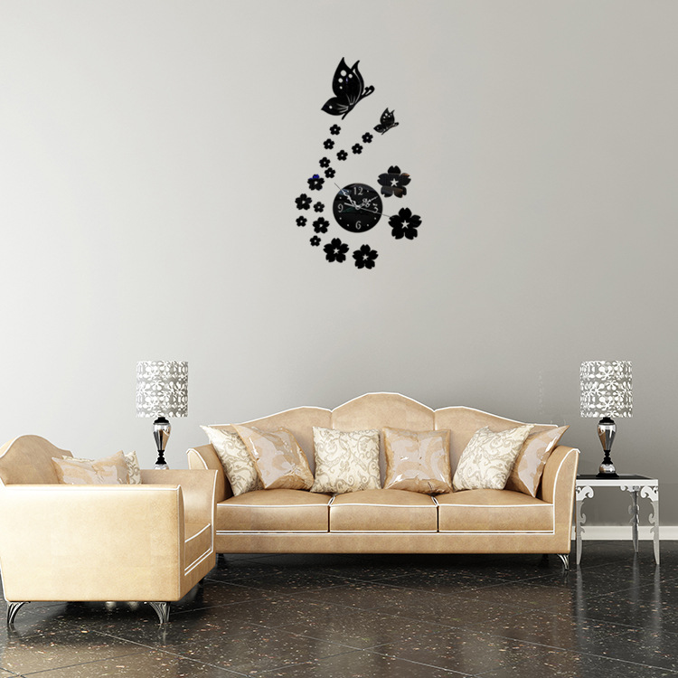2016 New Ikea Creative Hot Sale Living Room Digital Wall Stickers Butterfly Clock DIY Acrylic