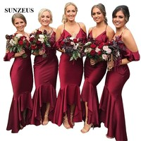 Burgundy Mermaid Bridesmaid Dresses High Low Spaghetti Strap V neck Tea length Party Gowns ladies dresses for wedding party