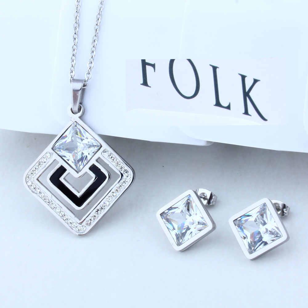 Oufei Stainless Steel Perhiasan Wanita Perhiasan Set Shell Kalung dan Anting Set Perhiasan Hadiah untuk Wanita Pernikahan Perhiasan Set