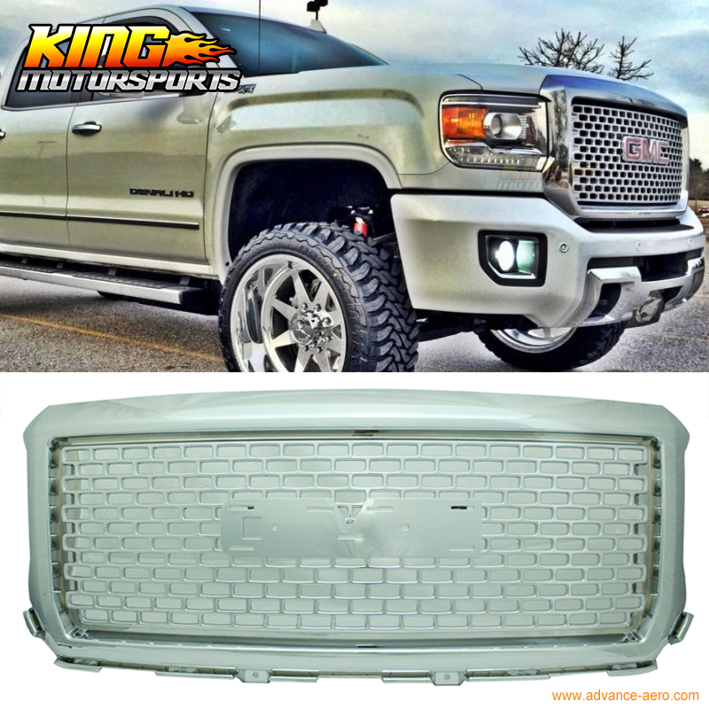 for 2014 2015 gmc sierra 1500 denali style chrome front bumper hood mesh grille abs in racing. Black Bedroom Furniture Sets. Home Design Ideas