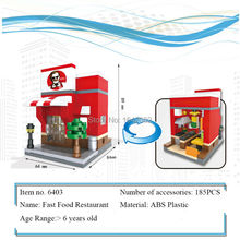 New City Series Mini Street Model Fast Food Restaurant Diamond Building Block Toys for Kids Educational Birthday Christmas gifts