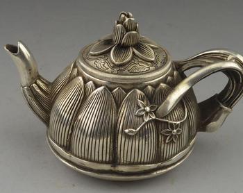 Very rare Qing Dynasty (QianLong1711-1799)silver Flagon/Teapot,lotus,Free  shipping,