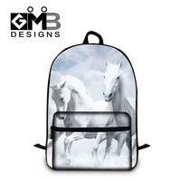 Fashion Accessories Animal Pattern Backpack For Teenager Boys 3D White Horses School Bags Men S Outdoor
