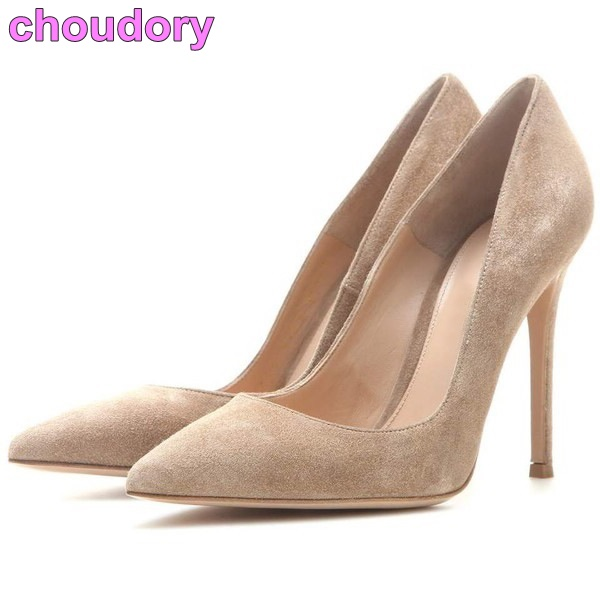 Women Hot Selling Concise Pointed Toe Dress Pumps Thin High Heel Shallow Cut Suede Party Shoes Celebrity Red Carpet Dress Shoes burgundy gray saphire blue pink women dress party career work shoes flock shallow mouth stiletto thin high heel pumps