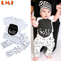 Children Clothing Sets New 2016 Children Clothing Sets Baby Boys Clothes Brand Cotton Summer Boss T shirts + White Tent Trousers