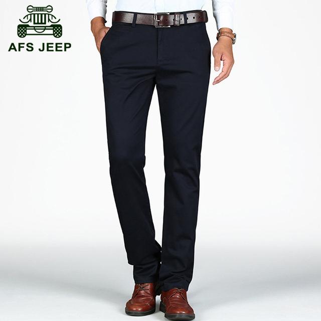 Afs jeep 2016 outono boa qualidade dos homens de negócios casual algodão marca calças homem primavera khaki preto em linha reta calças compridas g009