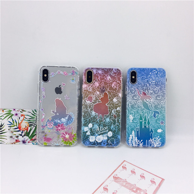 premium selection 0e1d8 5a416 US $2.49  for iPhone X i8 i6 6s i7 plus phone cases Cute cartoon relief  Alice little mermaid soft TPU air pressure back cover cases-in Fitted Cases  ...