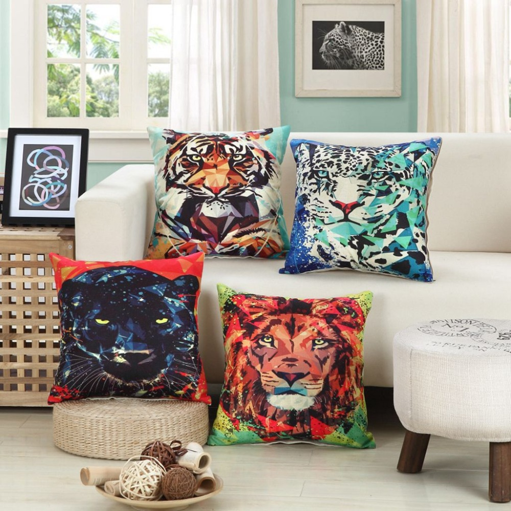 large cats decorative pillows leopards lions and tigers pattern sofa throw pillows cotton linen home office