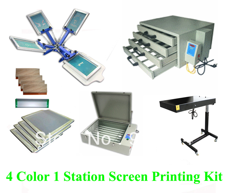 Free shipping discount full 4 color 1 station t-shirt screen printing kit press printer machine flash dryer expsoure stretcher 1pc single color screen printer t shirt screen printing machine 24 30cm flat printing press