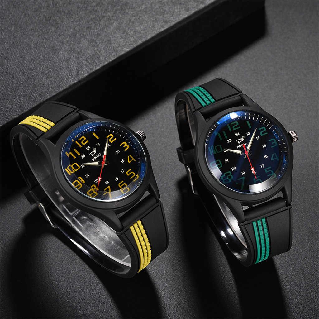 Montres pour hommes souple Silicone bracelet en caoutchouc sport mode simulé Quartz montre horloges mannen relojes para hombre 2019