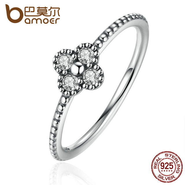 BAMOER 3 Size Authentic 925 Sterling Silver Clear CZ Simple Finger Ring for Wome