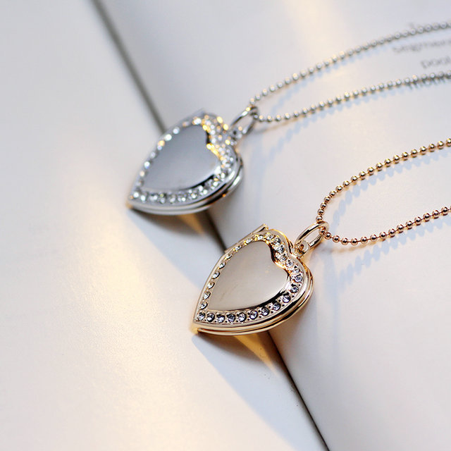 Classic Memory Photo Frame Rhinestone Crystal Heart Pendant Locket Necklace For Womens Jewellery Fashion Necklaces Jewelry 9