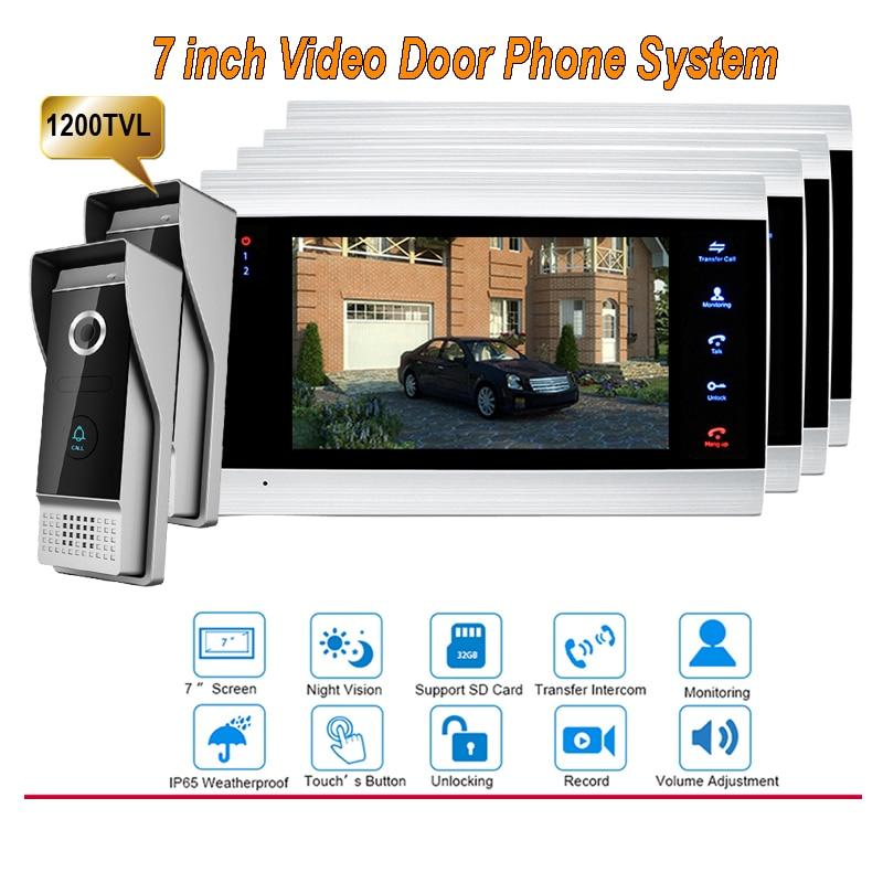 New 7 Inch 1200TVL Video Intercom System Door Phone Doorbell With  IP65 Wide Angle 110 Degree Camera DoorPhone 2v4