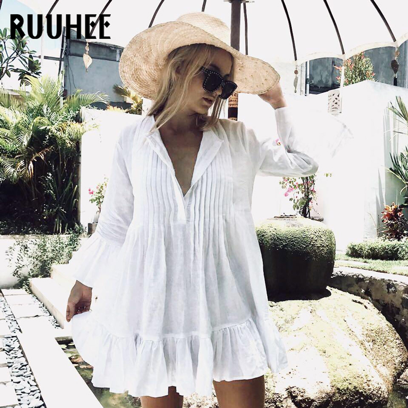 RUUHEE Sexy Beach Dress Cover-Up Bathing Suit Women Swimsuit Swimwear Summer Bikini Beach Wear A Line Ruffle Women Cover Ups
