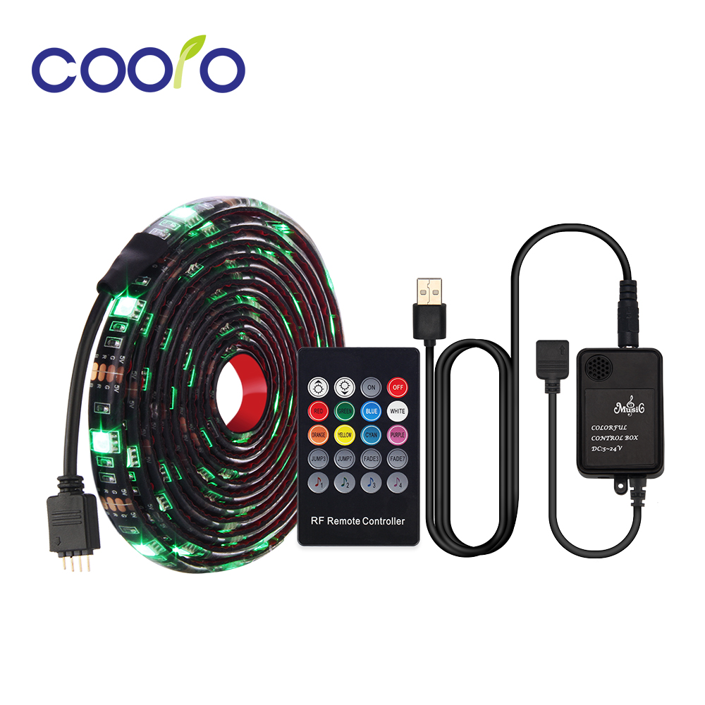RGB Strip SMD 5050 USB Port LED Light Tape RGB LED Strip Flexible Ribbon with Music Remote Controller Light Strip Set mini wifi rgb strip light controller with music control and voice control compatible with google home
