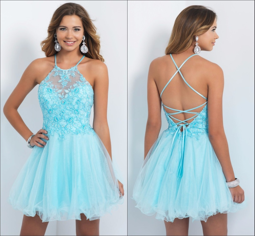 Light Blue Halter Homecoming Dresses 2015 With Applique Beaded A ...