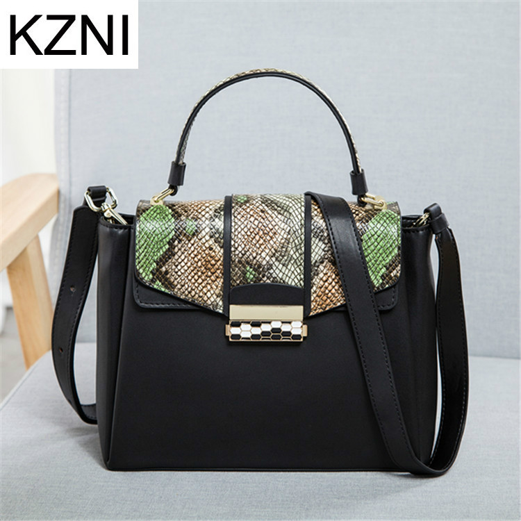KZNI Genuine Leather Purse Crossbody Shoulder Women Bag Clutch Female Handbags Sac a Main Femme De Marque L030853 women genuine leather character embossed day clutches wristlet long wallets chains hand bag female shoulder clutch crossbody bag