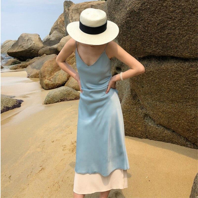 High Quality Summer Women Satin Dress Ankle Length Long Sexy Spaghetti Strap Dresses Sleeveless Deep V