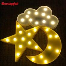 تعزيز ثلاثية الأبعاد سرادق سحابة نجمة القمر Led أضواء ليلية الطفل الحضانة مصابيح الأطفال ديكور غرفة نوم الاطفال الهدايا