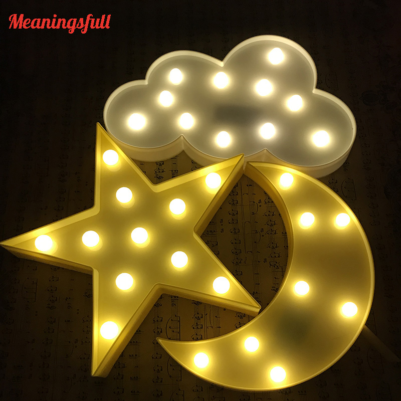 Promotion 3D Marquee Cloud Star Moon Led Night Lights Baby Nursery Lamps Children Bedroom Decor Kids Gifts