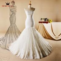 Vintage Wedding Dresses Mermaid Strapless Lace Beading Sexy Long Elegant Bridal Wedding Gowns 2018 New Design Custom Made YH06