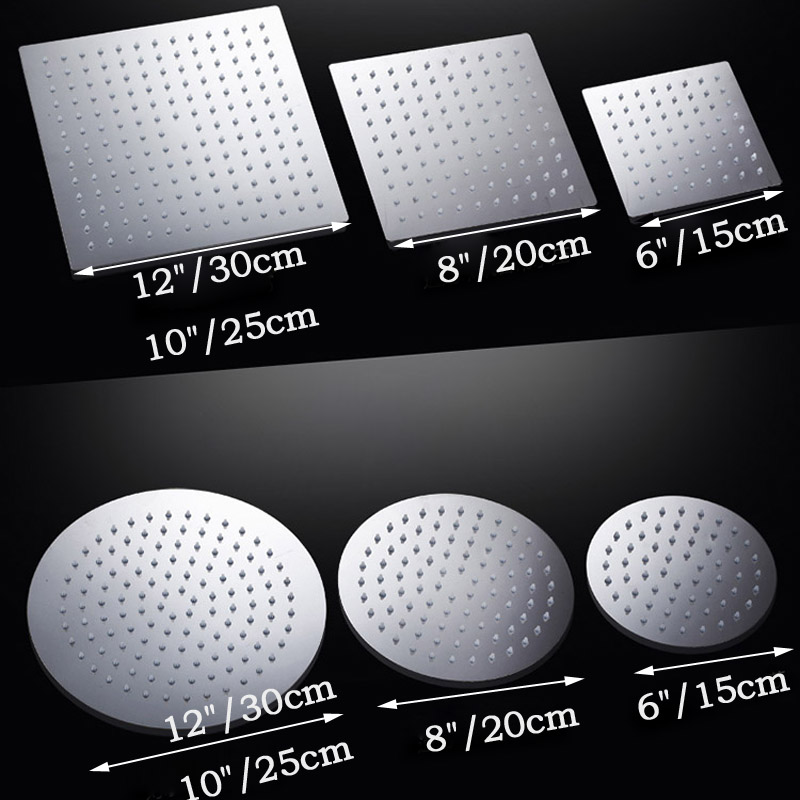 Showe Head Shower Faucet Accessories 6 8 10 12 Inch Rainfall Square Chrome  Finish Single Head Bathroom Shower Head In Shower Heads From Home  Improvement On ...