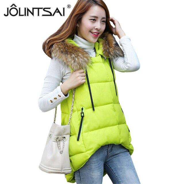 Short Front Long Back Women Vest Waistcoat 2016 New Down Cotton Padded Fur Collar Hooded Warm Sleeveless Jacket Vest Female