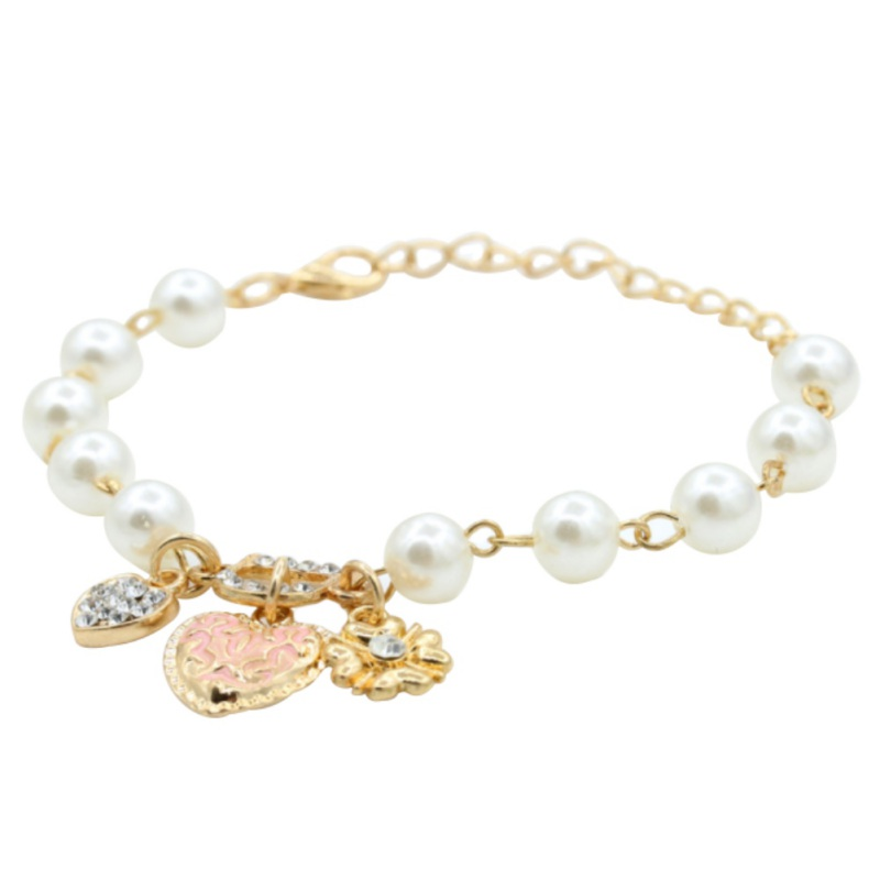 Fashion Brand Sweet And Lovely Heart Flowers Letter D Hang Bracelets And Anklets Imitation Fashion Pearl Beads Crystal Bracelet