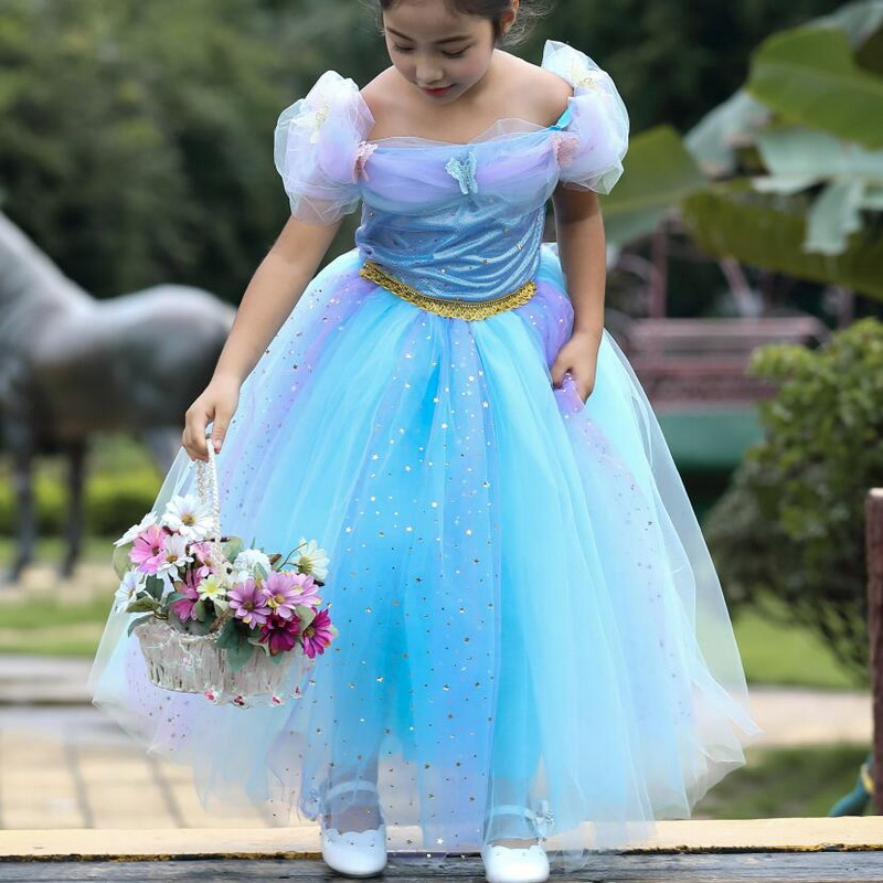Girls Cinderella Aurora Costumes Kids Christmas Elsa Dress Princess Snow Sequin Party Dresses Puff Sleeve Clothing 3 10 Years in Girls Costumes from Novelty Special Use