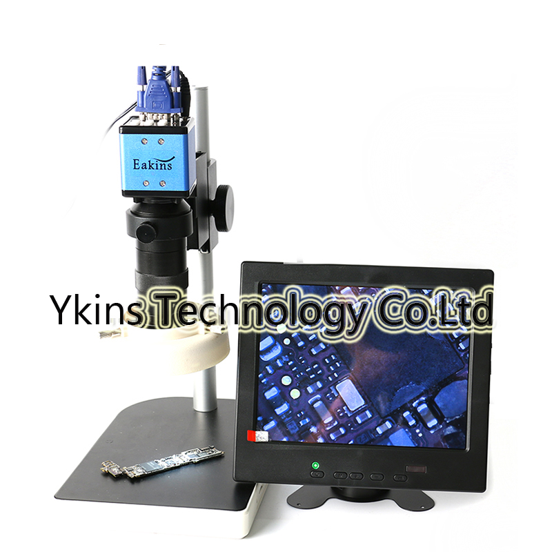 2.0MP Digital Industrial Microscope VGA Camera+8-130X C-Mount Lens+52 LED Ring light+stand holder+8inch screen monitor 2 0mp hd industrial digital microscope camera vga cvbs usb av tv outputs 8x 130x optical c mount lens led lights holder