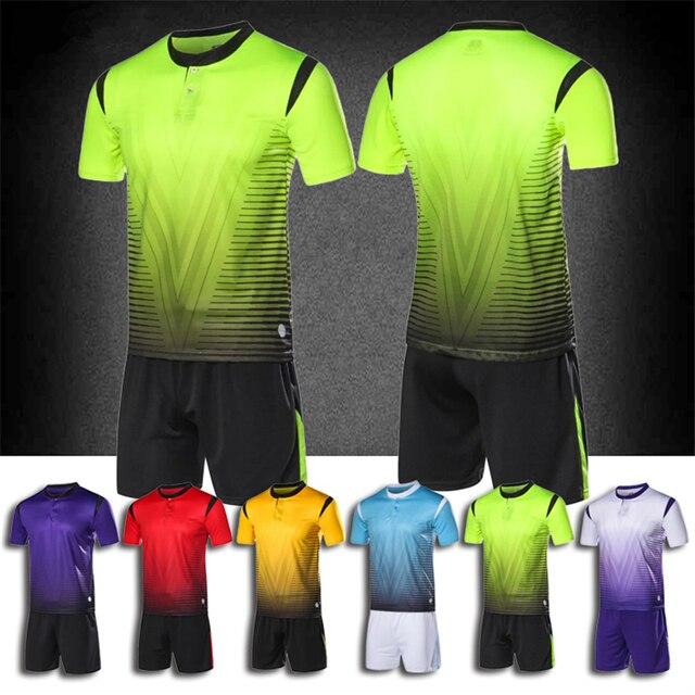 9a14e6cb7 2018 Football Jerseys Set Men Blank Soccer Jerseys Set Button Adult Soccer  Jerseys Uniforms Suits Custom