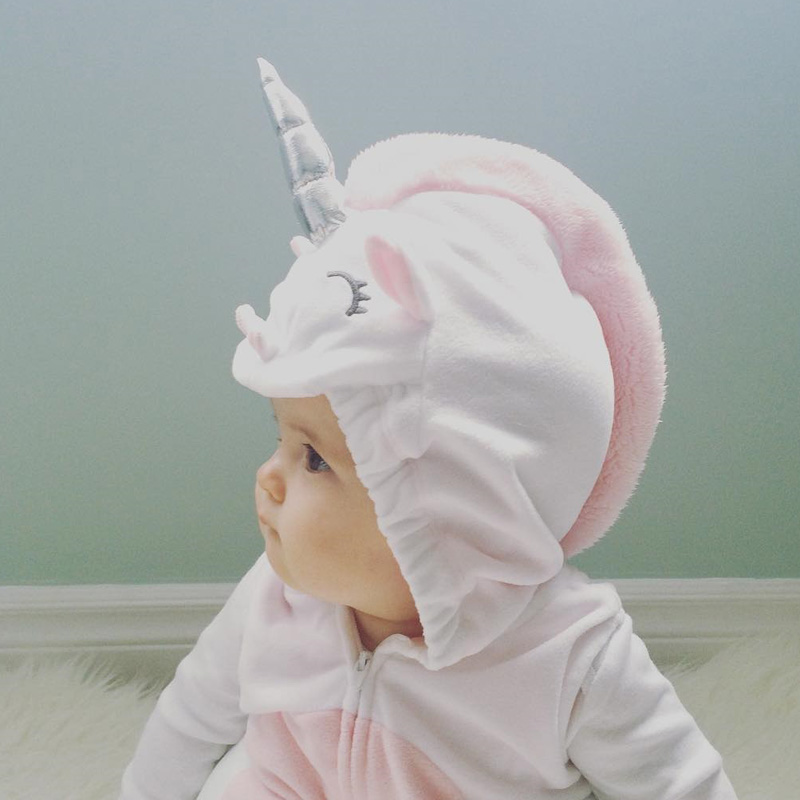 0 24M Unicorn Baby Boy Girls Cartoon Style Rompers Clothes Costume Kids Girls Romper Jumpsuit Outfits Fleece Clothes in Rompers from Mother Kids
