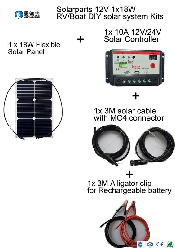 Xinpuguang solar panel Basic Kits 12V 18W quality flexible DIY solar system 10A red controller 3m MC4 alligator clip cables RV